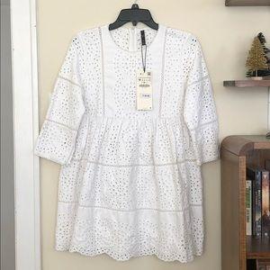 Zara TRF white eyelet babydoll dress size medium